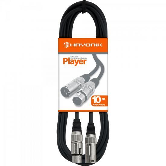 Cabo para Microfone XLR(F) X XLR(M) 10m PLAYER Preto HAYONIK