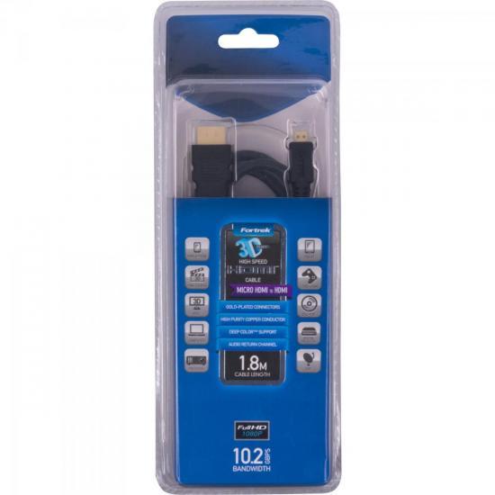 Cabo Micro HDMI x HDMI S/F 1.4 MHD-201/1.8 1,8 MT FORTREK