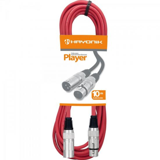 Cabo para Microfone XLR(F) X XLR(M) 10m PLAYER Vermelho HAYONIK