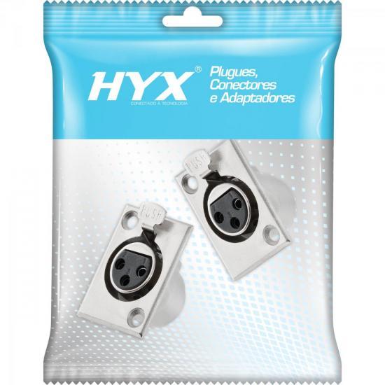Conector XLR Fêmea Painel 3 Pólos com Trava Niquelado HX039F HYX