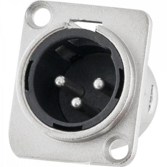 Conector XLR Macho Painel 3 Pólos Niquelado HX048M HYX