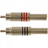 Plug RCA Macho Banhado a Ouro HRH001M Preto e Vermelho HYX