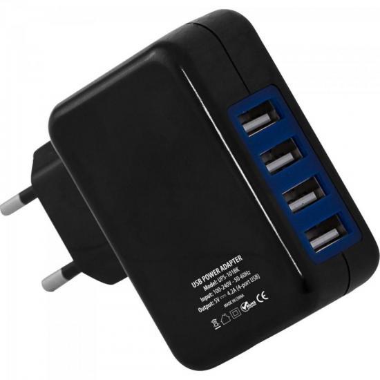 Fonte de Energia USB 4 Portas 4,2A UPS-101BK Preto FORTREK