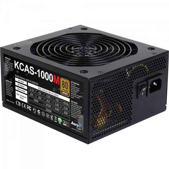 Fonte ATX s/Cabo 1000W KCAS EN53862 Preto AEROCOOL