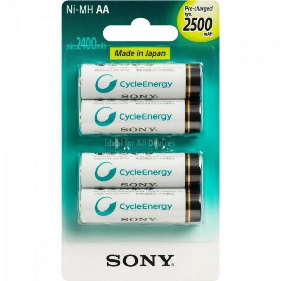 Pilha Recarregavel AA 2500mAh NiMh NH-AA-B4GN Sony cartela c/4 pilhas