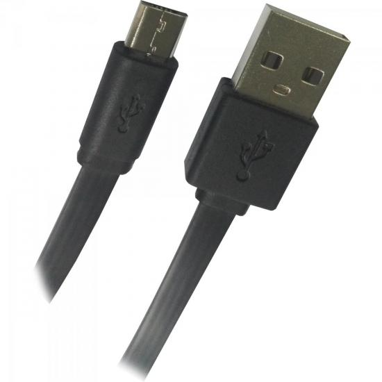 Cabo de Dados Micro USB Flat 1,8m UMI-401/1.8BK Preto FORTREK