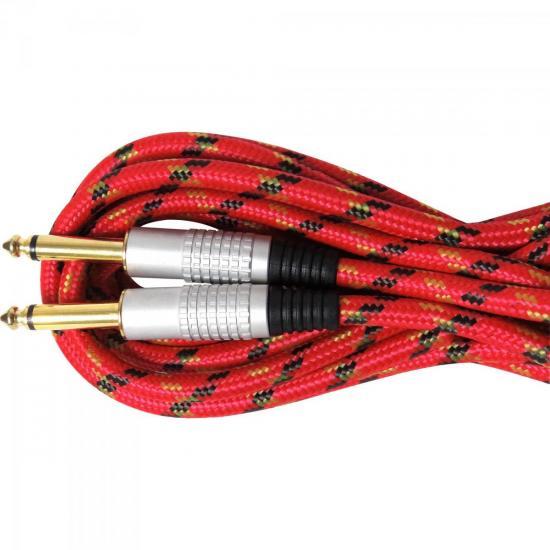 Cabo Guitarra P10 x P10 5m CBGU0005 Vermelho Têxtil STORM