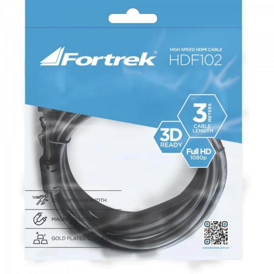Cabo HDMI com Filtro 1.4 3D 3m HDF-102/3M Preto FORTREK