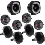 Kit Som Automotivo 120W RMS 8 Ohms 4 DRIVERS + 4 CORNETAS LONGAS + 2 SUPER TWEETERS ORION