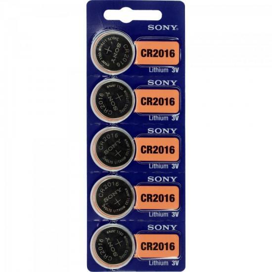 Pilha Botao 3V Litio CR2016 Sony cartela c/5 pilhas