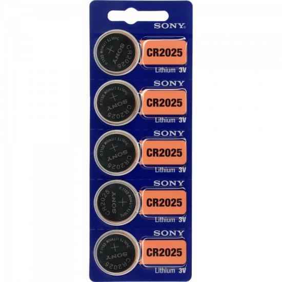 Pilha Botao 3V Litio CR2025 Sony cartela c/5 pilhas