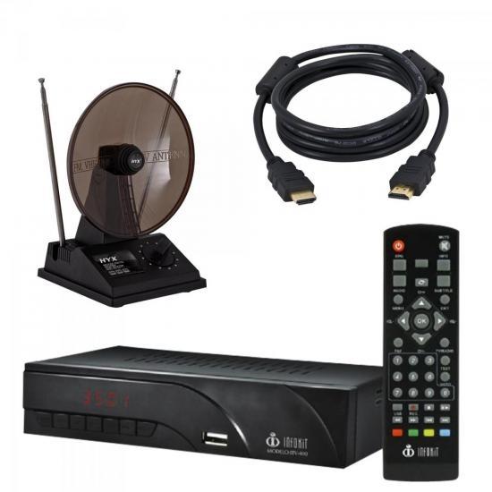 Kit Conversor Digital + Antena + Cabo HDMI Preto INFOKIT/HYX/LITE
