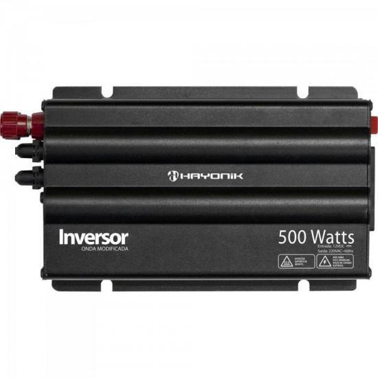 Inversor 500W 12VDC/220V Onda Modificada Cinza Escuro HAYONIK