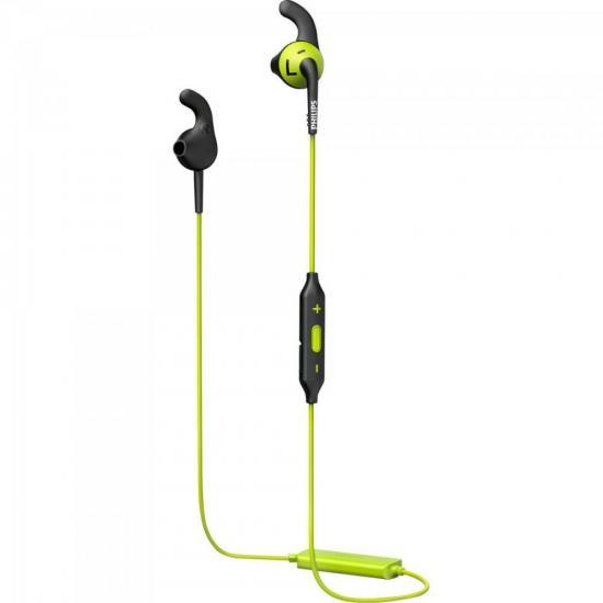 Fone Esportivo Bluetooth Wireless SHQ6500CL/00 Preto/Verde PHILIPS