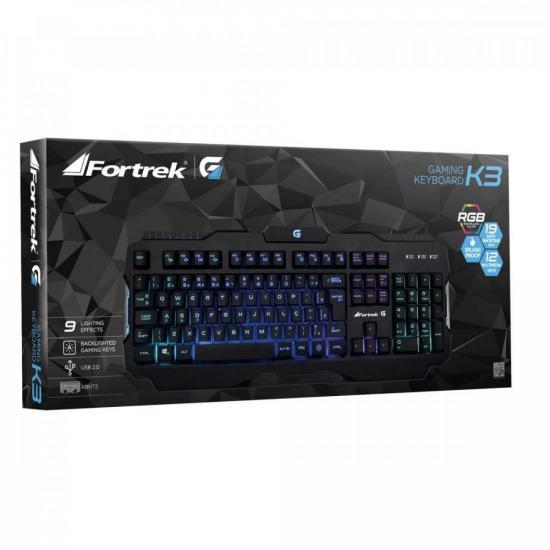 Teclado Gamer Pro K3 RGB Preto FORTREK