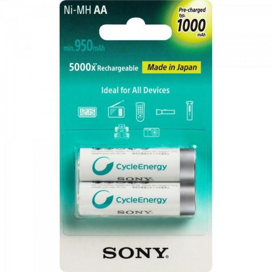 Pilha Recarregavel AA 1000mAh NiMh NH-AA-B2RN Sony cartela c/2 pilhas