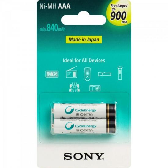 Pilha Recarregavel AAA 900mAh NiMh NH-AAA-B2GN Sony cartela c/2 pilhas