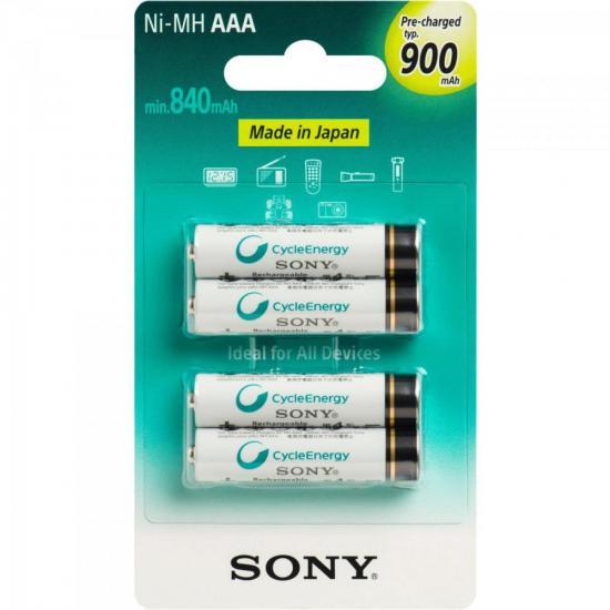 Pilha Recarregavel AAA 900mAh NiMh NH-AAA-B4GN Sony cartela c/4 pilhas