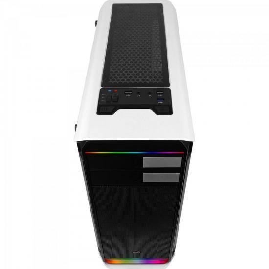 Gabinete Mid Tower RGB c/ LED Aero-500G Branco AEROCOOL