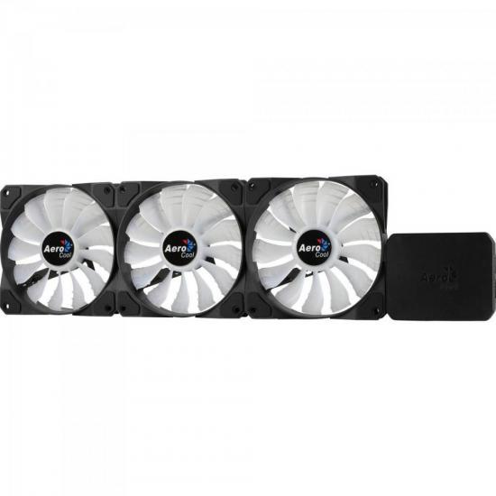 Cooler FAN Triplo RGB c/ Controlador P7-F12 PRO Preto AEROCOOL