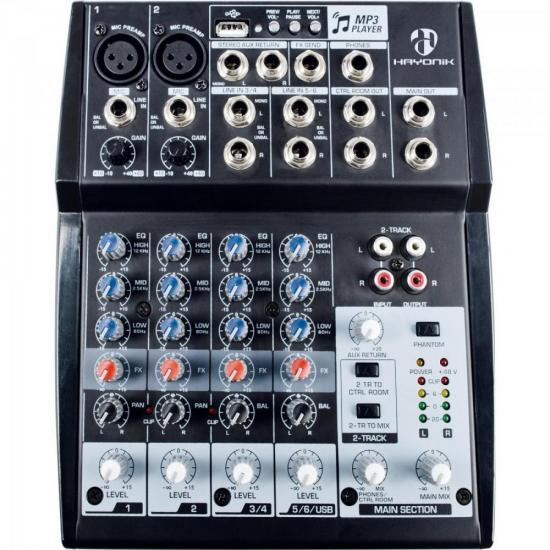 Mesa de Som 8 Canais USB HMX-108 HAYONIK