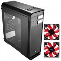 KIT 1 Gabinete Gamer AERO-500 WINDOW Preto AEROCOOL + 2 Coolers Fan 12cm