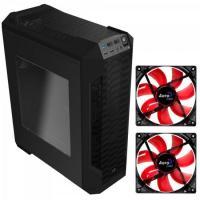 KIT 1 Gabinete Gamer LS-5200 Preto AEROCOOL + 2 Coolers Fan 12cm