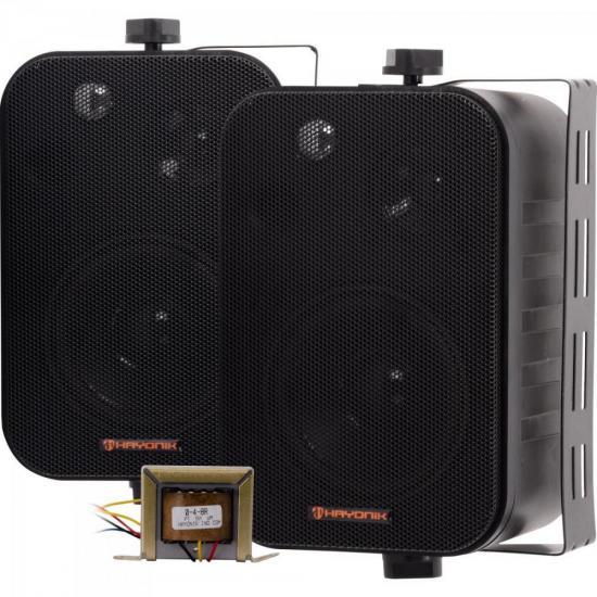 Caixa Acústica 60W com Trafo Embutido de 70V(10W) Ambience Line MSB406B Preta HAYONIK