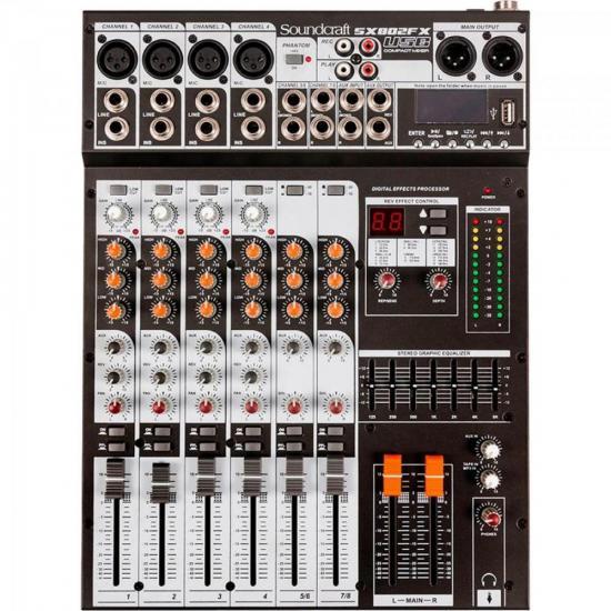 Mesa de Som 8 Canais USB SX802FX Preto SOUNDCRAFT