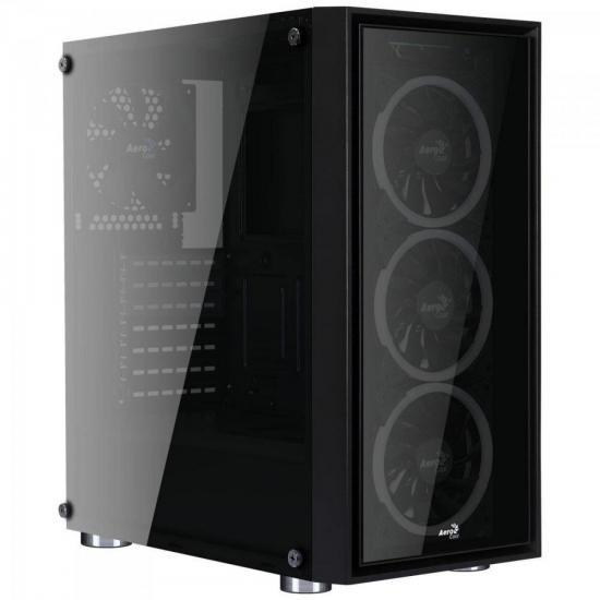 Gabinete Gamer Mid Tower Quartz Revo RGB Preto AEROCOOL
