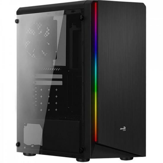 Gabinete Gamer Mid Tower RGB Rift Preto Acrílico AEROCOOL