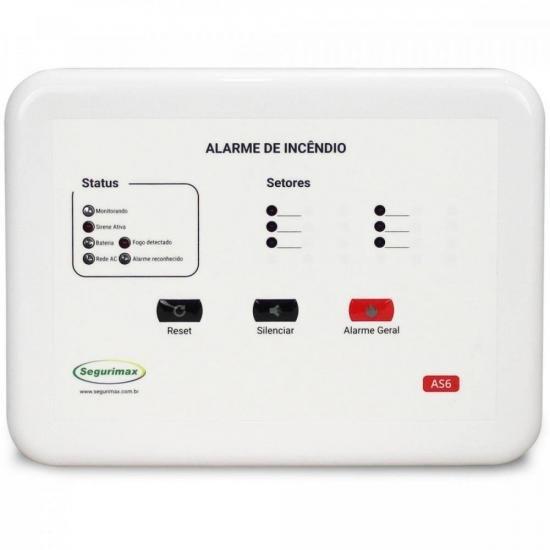 Central de Alarme de Incêndio 6 Setores 12V C/ Bateria SEGURIMAX
