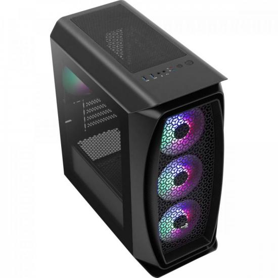 Gabinete Gamer Mini Tower Aero One Mini Frost Preto AEROCOOL